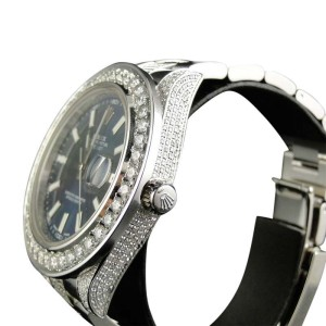 Rolex Custom Mens New 41mm Blue Date Just II 2 With Genuine Diamonds 10 Ct Watch