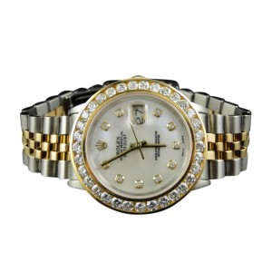 Rolex 2 Tone Rolex Datejust Oyster 18k/Steel Band Diamond Mens Watch