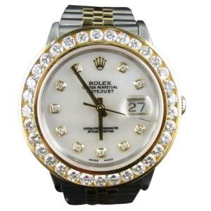 Rolex 2 Tone Rolex Datejust Oyster 18k/Steel Band Diamond Mens Watch