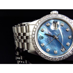 Rolex Datejust Oyster Stainless Steel Blue Pearl 3 Ct Diamond Mens Watch