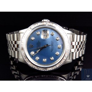 Rolex Datejust Oyster Stainless Steel Blue Pearl Diamond 4 Ct Mens Watch