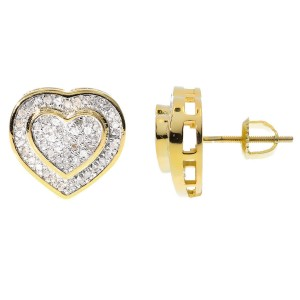 Yellow Gold Finish Sterling Silver Pave Diamond Dual Heart Studs Earrings