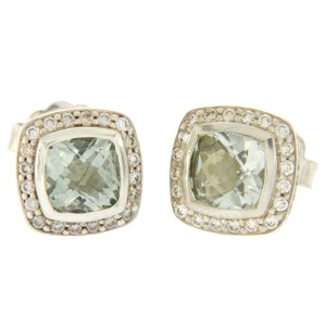David Yurman Petite Albion 925 Sterling Silver & 18K Yellow Gold Prasiolite & Diamond Earrings