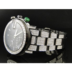 Gucci YA101331 Fully Iced Out 12 Ct Diamond Mens Watch