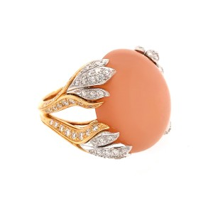 Exquisite Pastel Color Coral 18k Yellow Gold and Diamond Ring