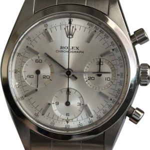 Rolex 6238 Stainless Steel Pre Daytona Silver Dial Mens Watch