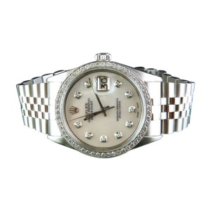 Rolex Datejust Jubilee Stainless Steel 2.15 Ct White Diamond 36mm Mens Vintage Watch