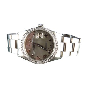 Rolex Datejust Oyster Stainless Steel White Diamond 2.25 Ct Mens 36mm Watch