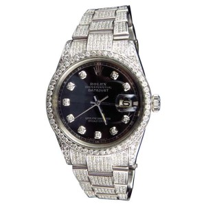 Rolex Full Iced Mens 36 MM Datejust Oyster Stainless Steel Diamond 8.5 Ct Watch