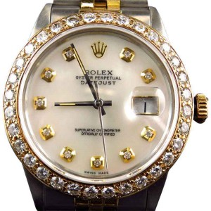Rolex Datejust 2 Tone Oyster 18k Stainless Steel Diamond Mens Watch
