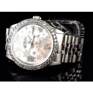 Rolex Datejust Oyster Flower Stainless Steel 3.15 Ct Diamond 36 mm Watch