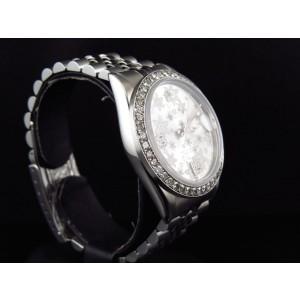 Rolex Datejust Oyster Flower Stainless Steel 3.15 Ct Diamond 36 mm Watch