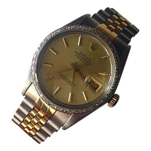 Rolex Datejust 16013 Stainless & 18K Gold Champagne Dial / Diamond Bezel Mens Watch