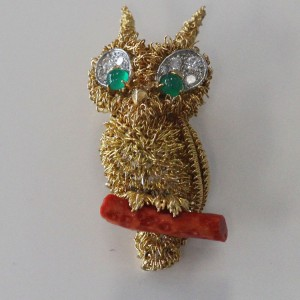Cartier 18K Yellow Gold Owl Diamond Coral Emerald Brooch / Pendant