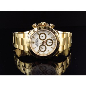 Rolex 18K Yellow Gold Daytona 40mm White Dial Oyster Bracelet 16528 New Buckle Watch