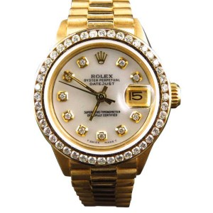 Rolex President Datejust 18k Yellow Gold Diamond 27 mm Ladies Watch