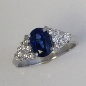 Platinum Sapphire & Diamond Custom Engagement Ring
