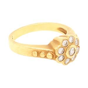 Delicate 18k Yellow Gold Bezel Set Diamond Flower Ring
