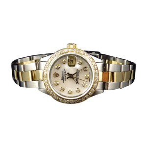 Rolex Datejust Diamond Oyster 2 Ct 18k/Stainless Steel 2 Tone Ladies Watch