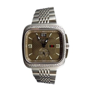 Gucci YA131301 Coupe 40mm Square Stainless Steel 2.0 Ct Diamond Watch