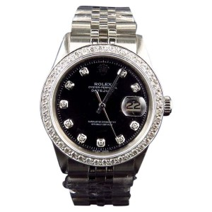 Rolex Mens Stainless Steel Datejust Jubilee Black Dial Diamond with 2.15Ct Watch