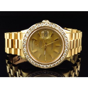 Rolex Day-Date Presidential 18038 18k Yellow Gold Diamond 6 Ct Watch