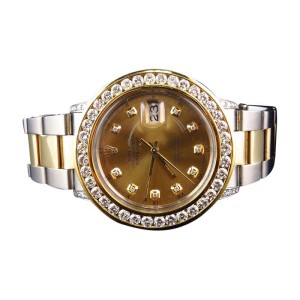 Rolex Datejust 2 Tone 18k Stainless Steel Oyster Band Diamond 41mm Watch