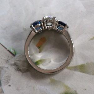 Platinum & Blue Sapphire Diamond Engagement Ring