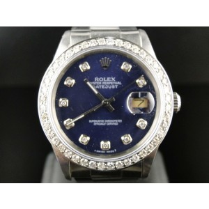 Rolex Datejust Blue Dial Genuine Diamond Watch 2 Ct Mid 90'S Mens Watch
