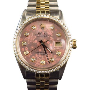 Rolex Datejust 18k Stainless Steel Jubilee Band Pink Diamond 2ct Watch