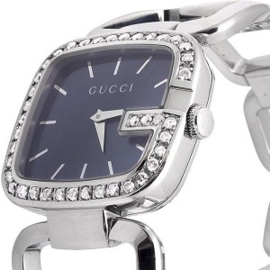 G-Gucci YA125407 Black Dial 2CT Genuine Diamond Stainless Steel Swiss Watch