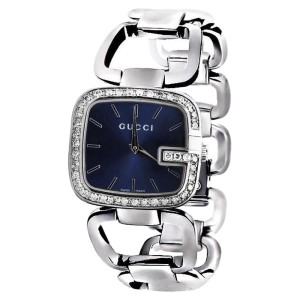 Gucci YA125405 Blue Dial 2CT Swiss Made Genuine Diamond Stainless Steel Women Watch