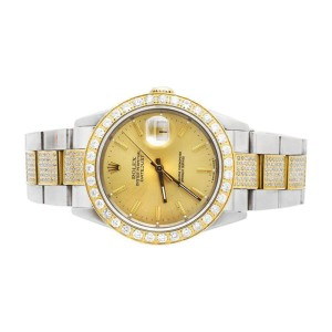 Rolex Datejust 36 mm 2 Tone Stainless Steel Oyster Band 5.5 Ct Diamond Watch