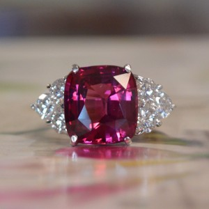 White Gold Natural Pink Spinel & Diamond - Custom Ring