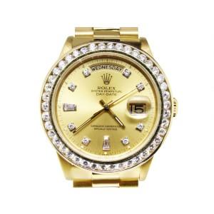 Rolex 18K Mens 36mm Yellow Gold 18038 Presidential Day-Date Diamond Watch