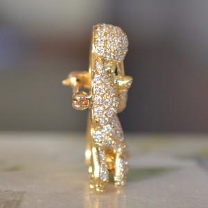 18K Yellow Gold and Diamond Custom Brooch