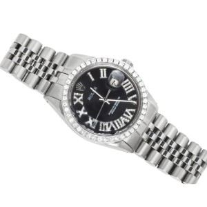 Rolex Datejust Stainless Steel Black Roman Number 2.8 Ct 36 mm Mens Watch