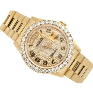 Rolex Presidential Day-Date 18K Yellow Gold 6.5 CT Diamond Mens 36mm Watch