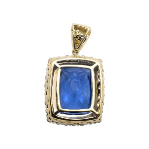 10K Yellow Gold Royal Sapphire Gemstone Genuine Diamond Pendant Charm