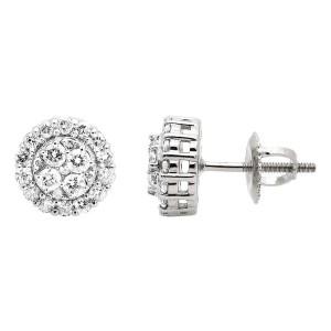 10K White Gold Diamond Stud Earrings