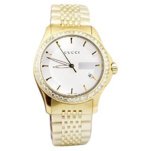 Gucci 101 G-Timeless YA126409 Yellow Gold Dial 38 MM Swiss 2.0 ct. Diamond Unisex Watch