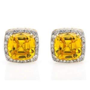 10K Yellow Gold Topaz Diamond Stud Earring