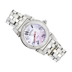 Aqua Master Stainless Steel Morges Pink Mother of Pearl Dial Watch