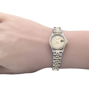 Rolex 2 Tone Datejust 18K Steel Yellow Gold Dial Diamond Watch