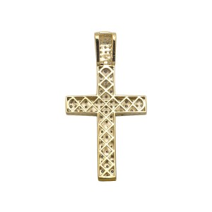 Yellow Gold Finish Sterling Silver Dome Cross 3 Rows Pave Diamond Pendant Charm