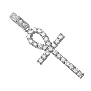 14K White Gold Ankh Cross One Row Genuine 3.25ct. Diamond Pendant Charm