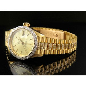 Rolex Datejust Presidential 18K Yellow Gold 6.5ct Diamond 26mm Watch