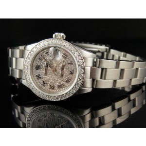 Rolex Datejust Oyster Stainless Steel 3.25 ct Diamond Pave Dial 26mm Watch