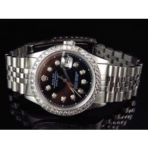 Rolex Datejust Oyster Quickset Stainless Steel 2.5 Ct Diamond Mens Watch 36 mm