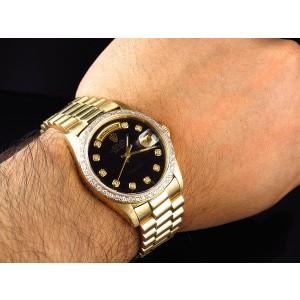 Rolex Day-Date 18038 18K Yellow Gold President Diamond Bezel Mens 36mm Watch